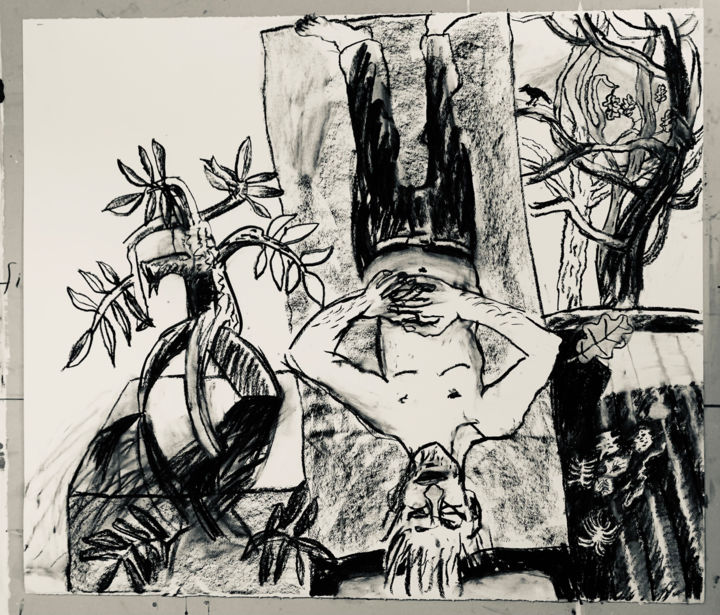"""Drawing titled """"No. 4"""" by Stephen West, Original Art, Charcoal"""