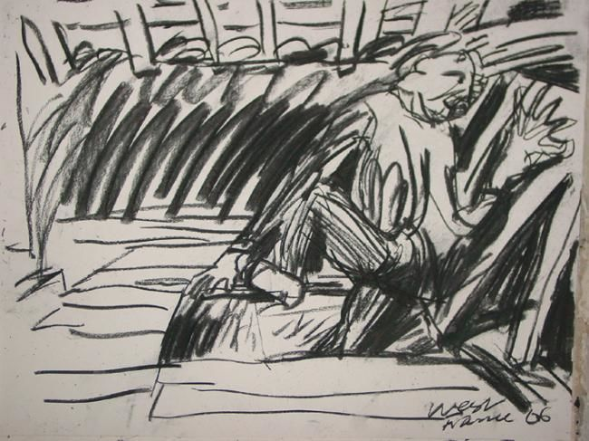 """Drawing titled """"in the loft 1"""" by Stephen West, Original Art,"""