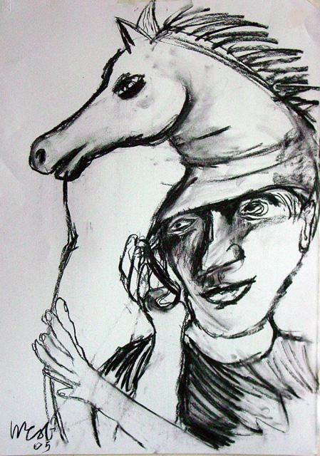 Wearing horses head 2 - Drawing,  60x40 cm ©2005 by Stephen West -                            Black and White, horse human charcoal paper myth