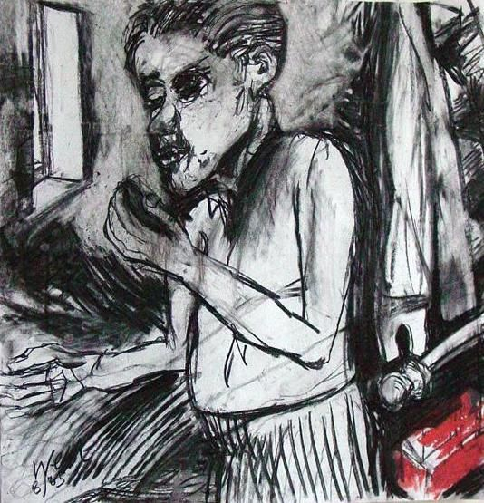 """Drawing titled """"phoning in interior"""" by Stephen West, Original Art, Other"""