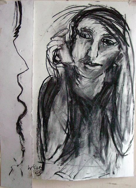 """Drawing titled """"Mobile Call 2"""" by Stephen West, Original Art, Other"""