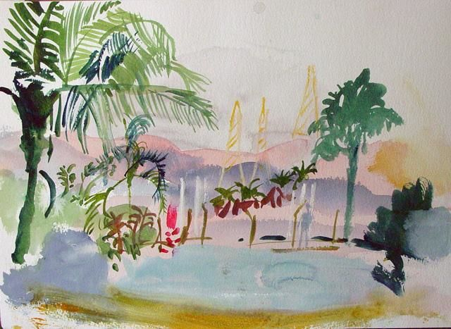 Samara 2 - Painting,  25x35 cm ©2006 by Stephen West -            Watercolour Landscape India Paper