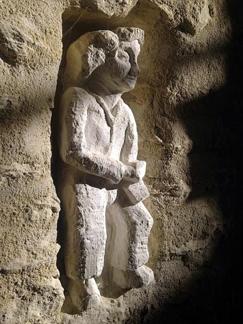 """Sculpture titled """"Man with Trowel"""" by Stephen West, Original Art, Stone"""