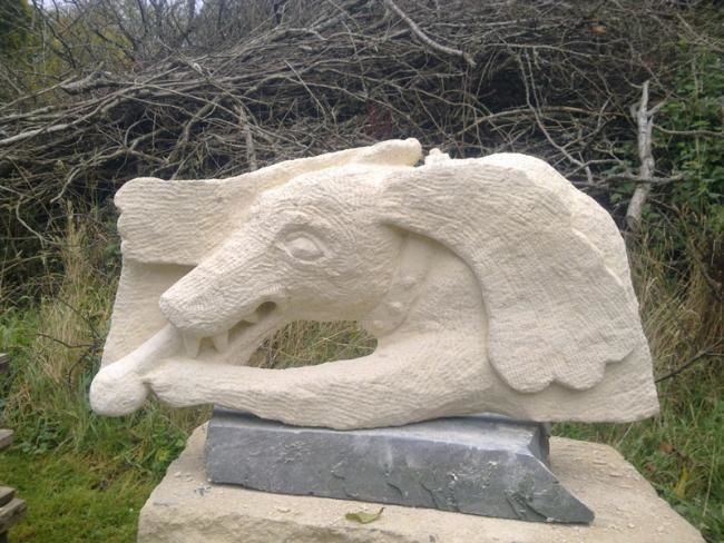 Os 2 - Sculpture,  32x10x58 cm ©2010 by Stephen West -            relief carving of long-eared dog and bone
