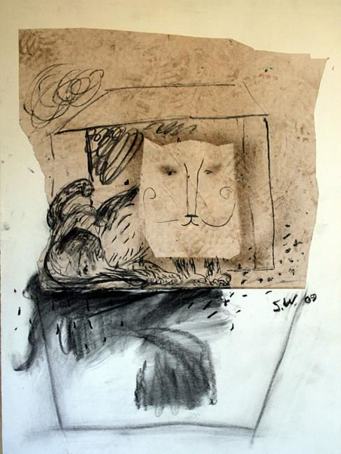 Cat as Cat 5 - Drawing,  76x56 cm ©2009 by Stephen West -                            Black and White, cat in a cat mask before a little house