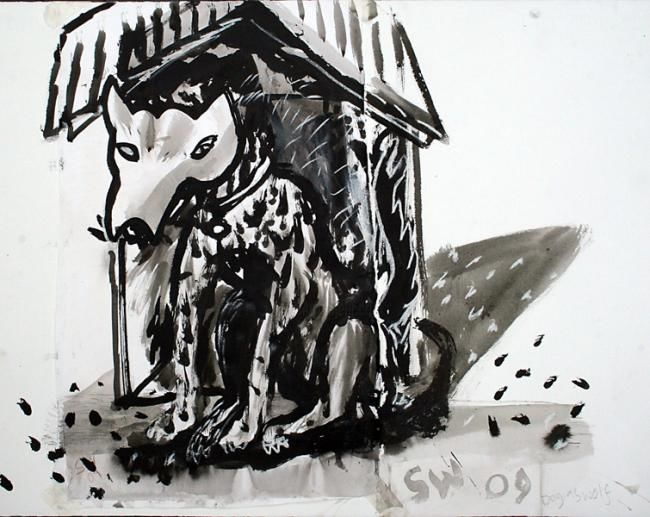 Dog as Wolf - Drawing,  76x59 cm ©2010 by Stephen West -                            Black and White, dog in a wolf mask before a little house