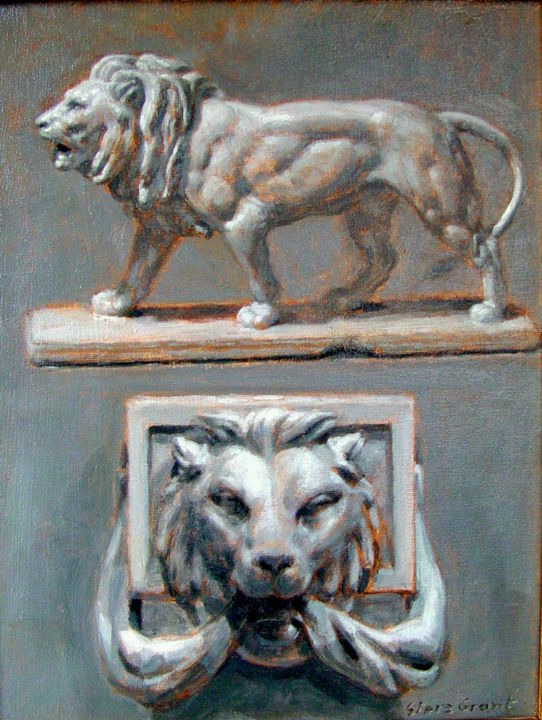 """Painting titled """"Two lions"""" by Stere Grant, Original Art,"""