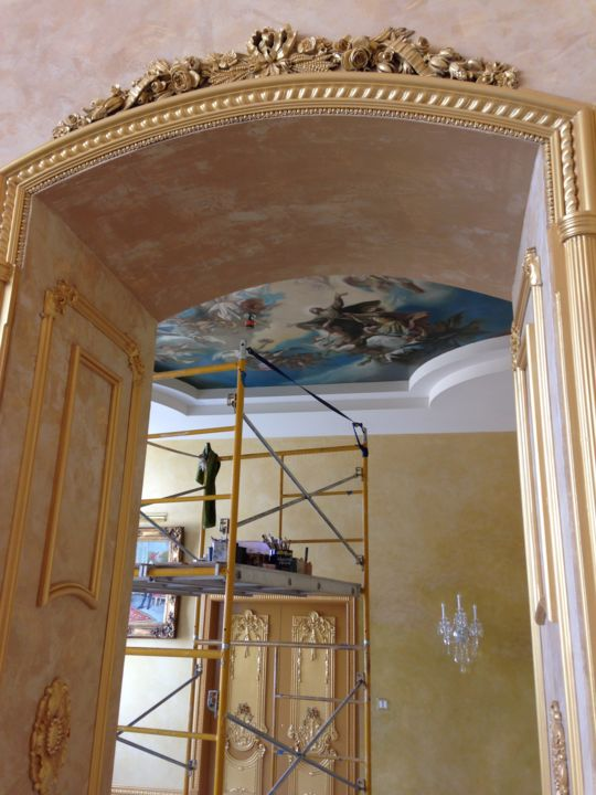 """Painting titled """"ceiling mural"""" by Stere Grant, Original Art, Oil"""