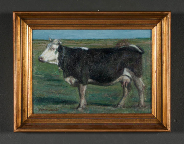 """Painting titled """"cow in the field"""" by Stere Grant, Original Art, Oil"""