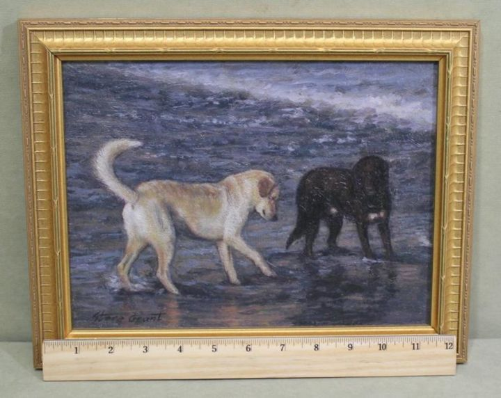 """Painting titled """"Dogs on the beach"""" by Stere Grant, Original Art, Oil"""