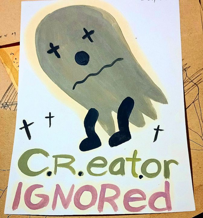 """Painting titled """"C.R.EAT.OR IGNORED"""" by Stifen Taneo, Original Art, Oil Mounted on Stretcher frame"""