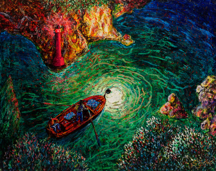 """Painting titled """"Little red lighthou…"""" by Capt.Stjepko Mamic, Original Art, Other"""