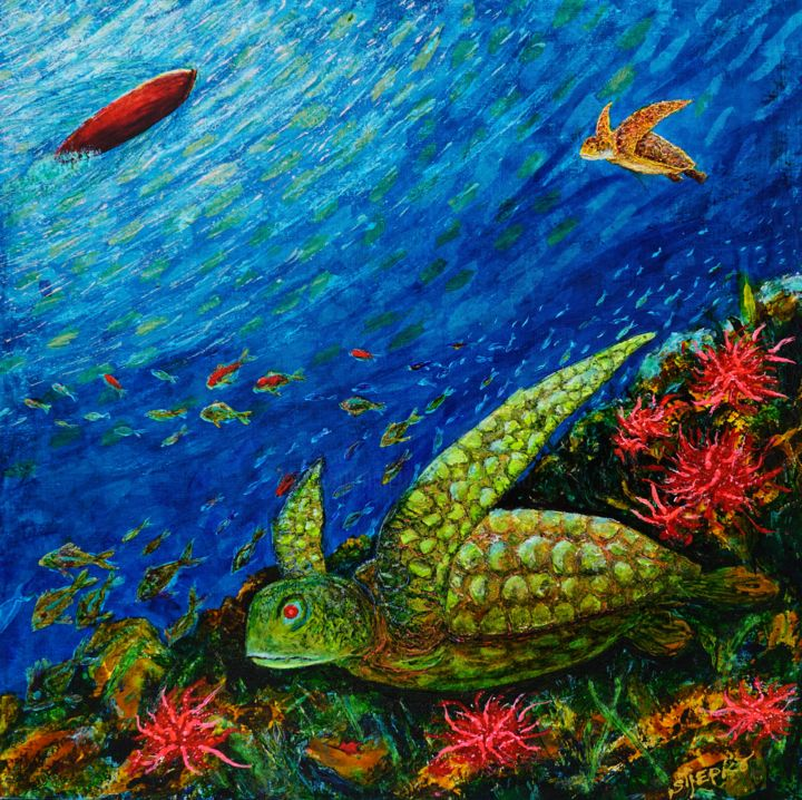 """Painting titled """"Green turtle"""" by Capt.Stjepko Mamic, Original Art, Other"""