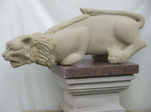"""Sculpture titled """"Cat on Column"""" by Stonecarver, Original Art, Stone"""