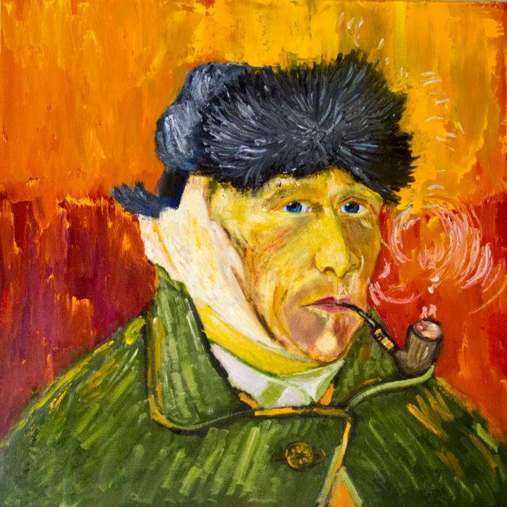 To the 166th anniversary of Van Gogh - Painting,  60x60x2 cm ©2019 by ArtSto -                                                                                                            Impressionism, Portraiture, Expressionism, Cotton, Canvas, People, Portraits, Van Gogh, artist