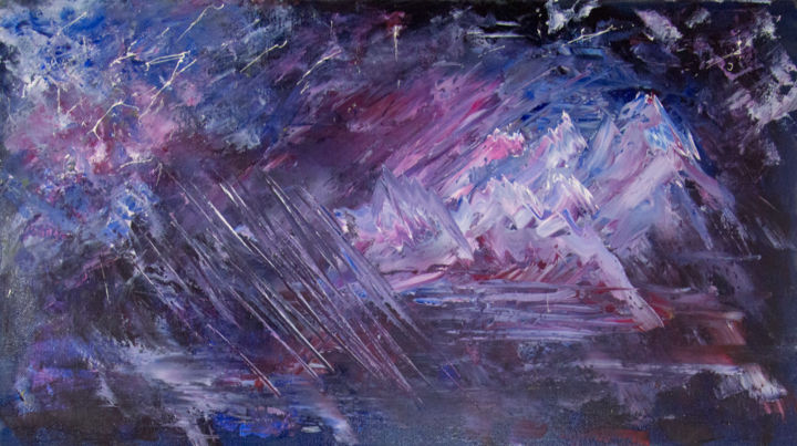 starfall - Painting,  40x70x2 cm ©2018 by ArtSto -                                                                                Abstract Expressionism, Impressionism, Canvas, Outer Space, Nature