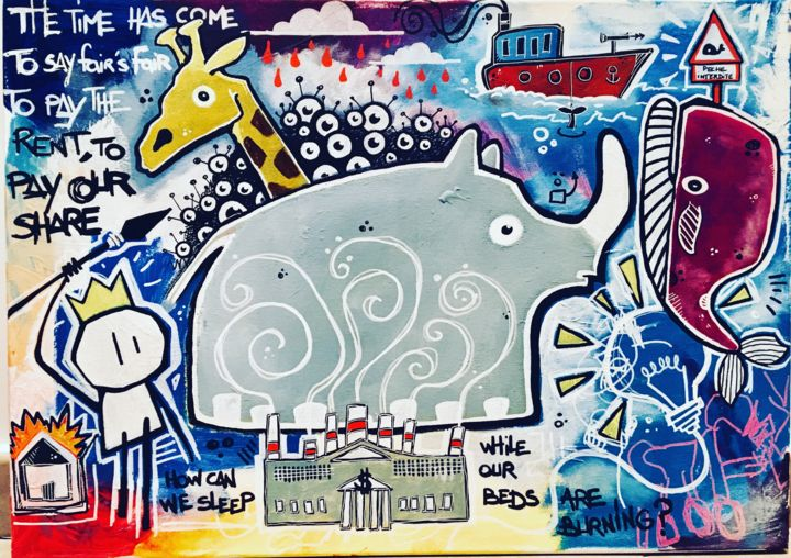 Beds are burning - Painting,  19.7x27.6x0.8 in, ©2019 by Yohan Storti -                                                                                                                                                                                                                                                                                                                                                                                                                                                      Naive Art, naive-art-948, Animals, Nature, planète, posca, pollution, earth, planet