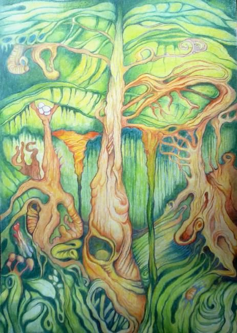 Rain forest - Drawing ©2013 by Michael Stransky -                            Colors, rainforest, drawing, color pencil drawing