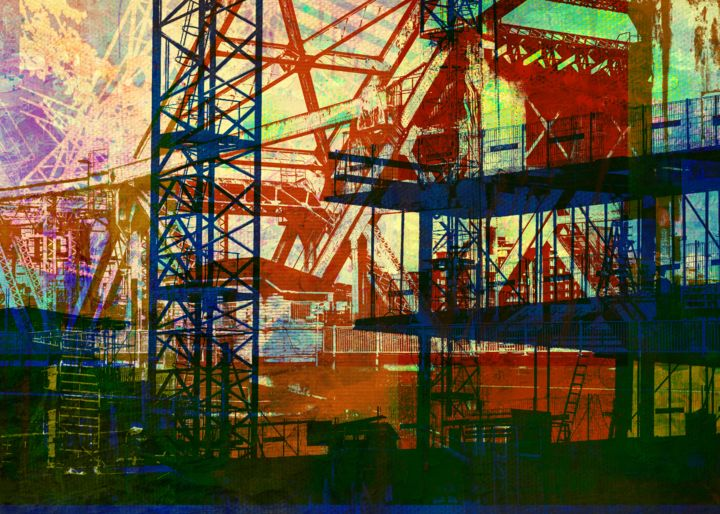 IF YOU BUILD IT 8 - Digital Arts ©2019 by OTIS PORRITT -                                                                                                                    Abstract Art, Conceptual Art, Modernism, Pop Art, Abstract Art, Architecture, Cities, Cityscape, industrial, construction, popart, industry, artwork, art, painting, modern