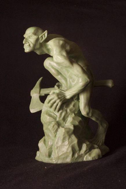тролль - Sculpture,  17 cm ©2012 by Strix -            тролль с топором