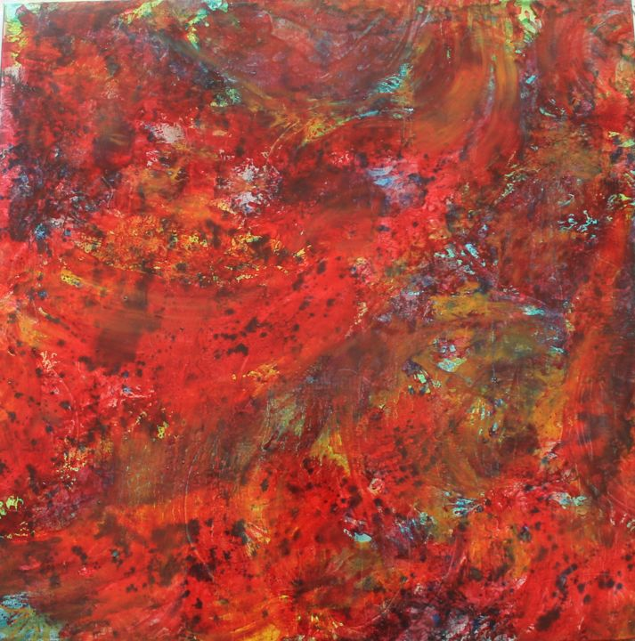 Red-oil-on-canvas-80cm-x-80cm-2015.jpg - Painting,  80x80x2 cm ©2015 by Janez Štros -                                                            Abstract Art, Canvas, Abstract Art, abstract, art, painting, oil, canvas, red
