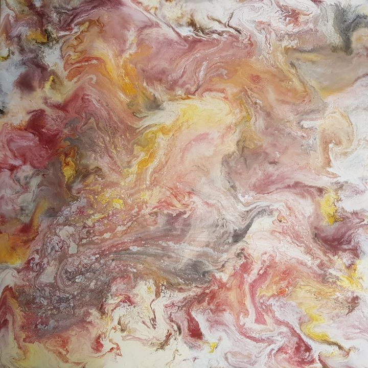 Tenderness of souls - Painting,  90x90x2 cm ©2018 by Janez Štros -                                                            Abstract Art, Canvas, Abstract Art, art, abstract, painting, oil, canvas, soul, heart