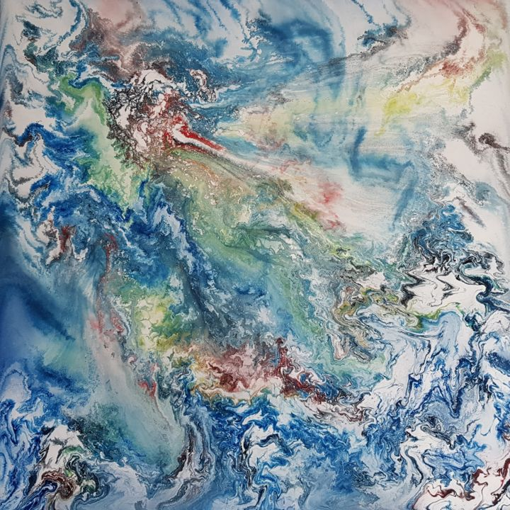 A look at the soul - Painting,  90x90x2 cm ©2018 by Janez Štros -                                                            Abstract Art, Canvas, Abstract Art, abstract, art, oil, canvas