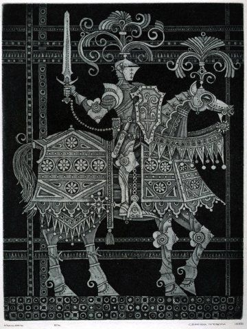 KNIGHT - Printmaking,  15x20 cm ©1995 by Sergei Trubin -                                        Figurative Art, Black and White