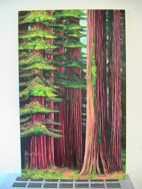 Deercove - Painting,  48x30 in ©2009 by Stuart C Foster -                            Figurative Art, Painting of Redwoods and deer on Northwest coast