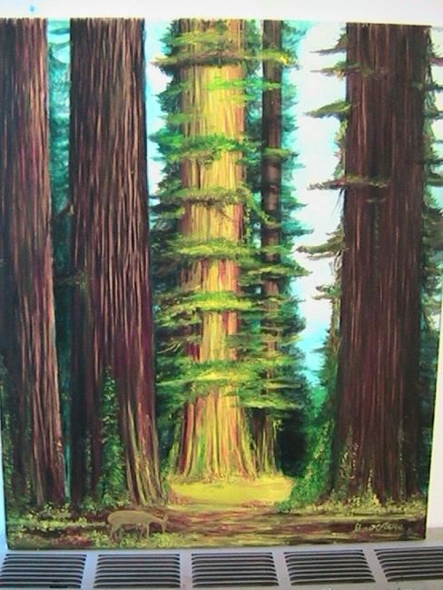 Trees of Mystery - Painting,  24x20 in ©2009 by Stuart C Foster -                            Figurative Art, Oil painting in the redwood forest