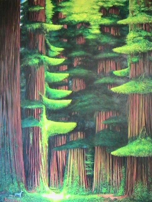 Towering Redwoods Pathway - Painting,  60x48 in ©2009 by Stuart C Foster -                            Figurative Art, surreal view of the redwoods in oil