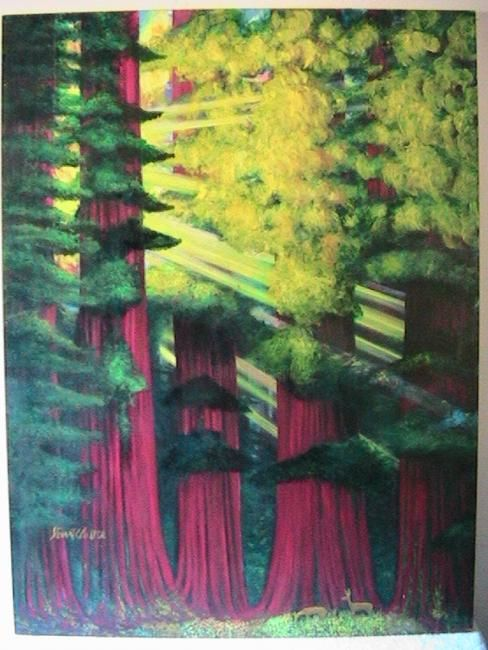 Morning Sunrays - Painting,  48x36 in ©2009 by Stuart C Foster -                            Figurative Art, Sunrays beaming through the Sequoias inthe morning