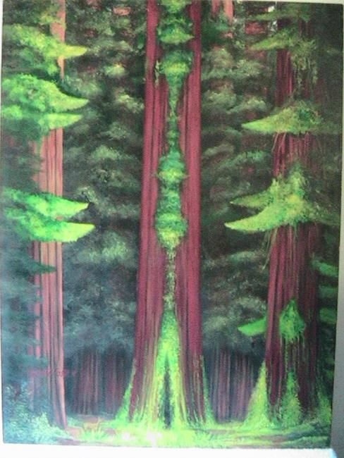 The Hollow - Painting,  48x36 in ©2009 by Stuart C Foster -                            Figurative Art, oil painting deep in the forest