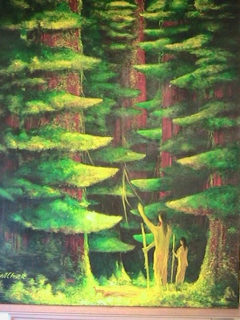 Thanking Nature - Painting,  60x48 cm ©2009 by Stuart C Foster -            oil painting of native americans and ancient redwoods