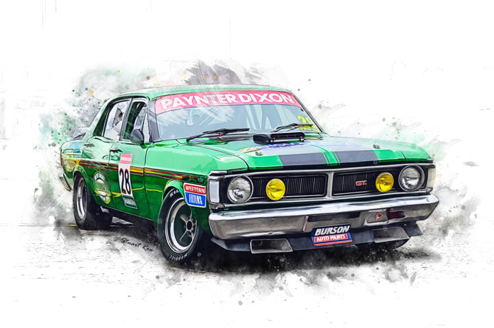 Green XY Falcon GT - ©  falcon, xy, gt, 351, 351gt, gt351, muscle, car, race, racing, motorsport, ford Œuvres-d'art en ligne