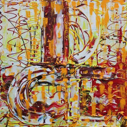"""Painting titled """"Rosso luce"""" by Pietra Barrasso, Original Art, Acrylic"""