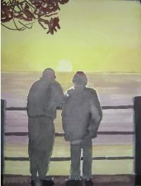 stand beside me,be my friend - Painting,  16x12 in ©2004 by Andy Lavallee -                            Realism, watercolour, waterside, couple, sunset