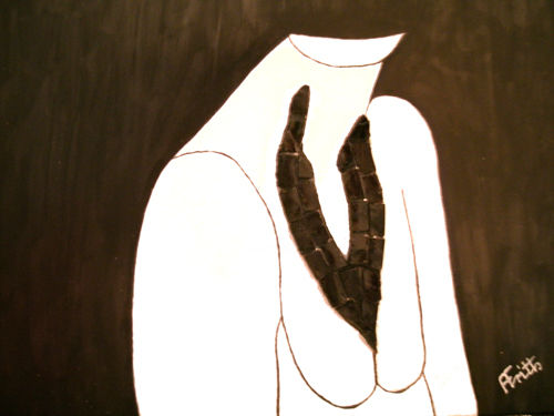 Black Necklace - Painting,  14x17 in, ©2013 by Anneliese Fritts -                                                                                                                                                                                                                                                                                          contemporary, black & white, original, framed, acrylic, mosaic