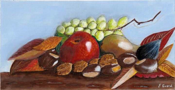 Nature morte automne - Painting,  5.9x11.4x0.4 in, ©2018 by Francois Suard -                                                                                                                                                                          Classicism, classicism-933, Still life
