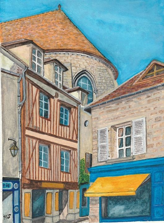 Senlis - Painting,  11x8.3 in, ©2018 by Francois Suard -                                                              Architecture