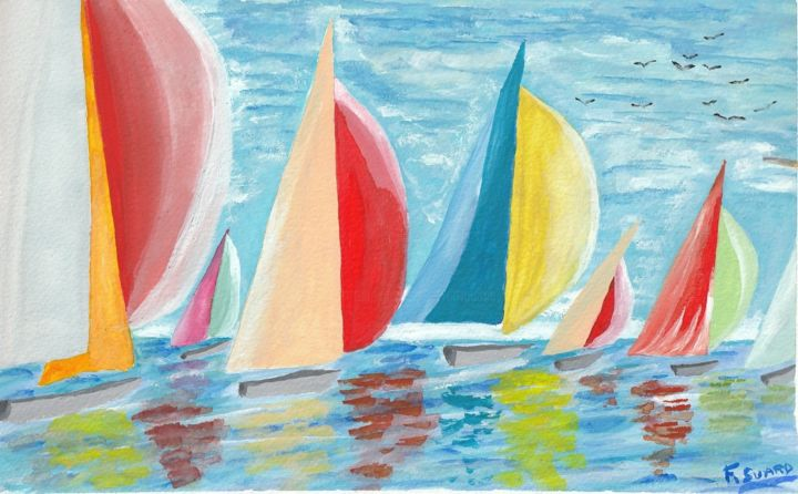 Bal des voiles - Painting,  7.1x11.4 in, ©2018 by Francois Suard -                                                                                                                                                                                                                      Classicism, classicism-933, Boat, Sailboat