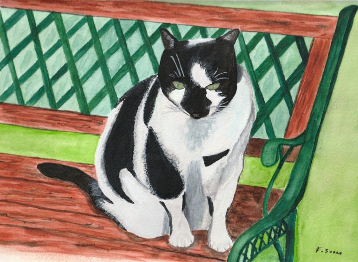 Vachette / Mon gros chat - Painting,  7.9x10.6 in, ©2018 by Francois Suard -                                                              Animals