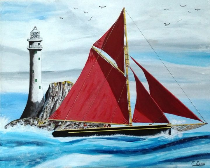 Thonier breton - Painting,  15.8x19.7x0.8 in, ©2018 by Francois Suard -                                                                                                                                                                          Figurative, figurative-594, Sailboat