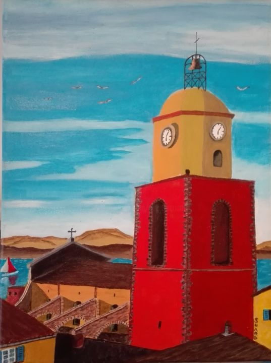Eglise St Tropez - Painting,  19.7x15.8x1 in, ©2018 by Francois Suard -                                                                                                                                                                                                                                                                      Naive Art, naive-art-948, Places, , saint tropez