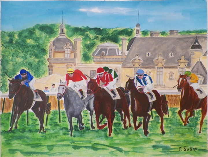 Prix de Diane/Chantilly - Painting,  11.8x15.8x0.4 in, ©2019 by Francois Suard -                                                              Animals
