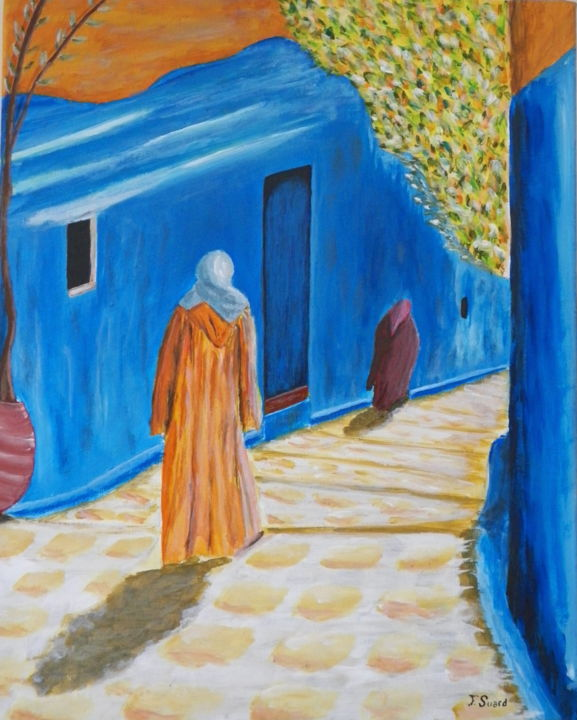 Marocaines - Painting,  15x10.2x1 in, ©2019 by Francois Suard -                                                              Women