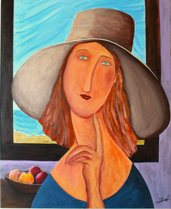 Jeune fille - Painting,  23.6x19.7x0.8 in, ©2020 by Francois Suard -                                                                                                                                                                          Naive Art, naive-art-948, Women