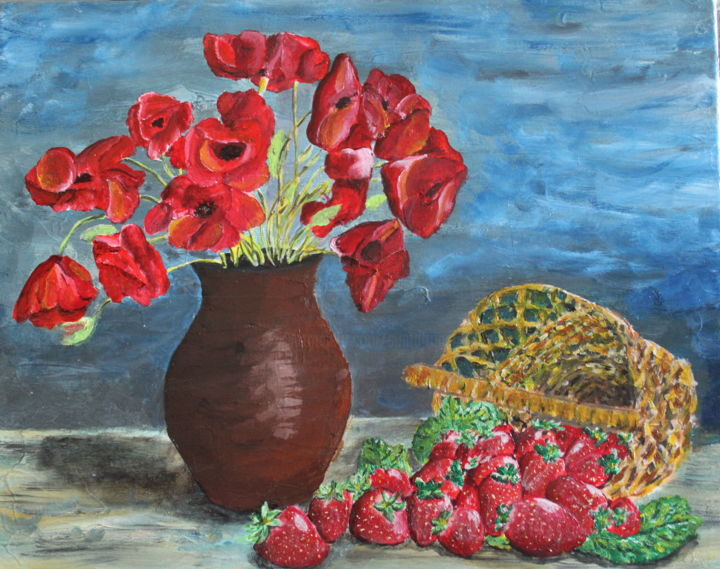 Fraises et coquelicots - Painting,  11.4x16.5x0.8 in, ©2020 by Francois Suard -                                                                                                                                                                          Expressionism, expressionism-591, Garden