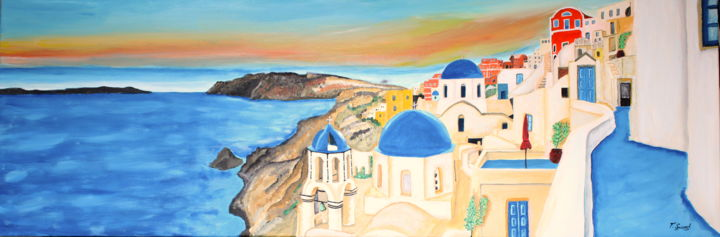 Ile Saint Santorin - Painting,  15.8x47.2x0.8 in, ©2020 by Francois Suard -                                                                                                                                                                          Expressionism, expressionism-591, World Culture