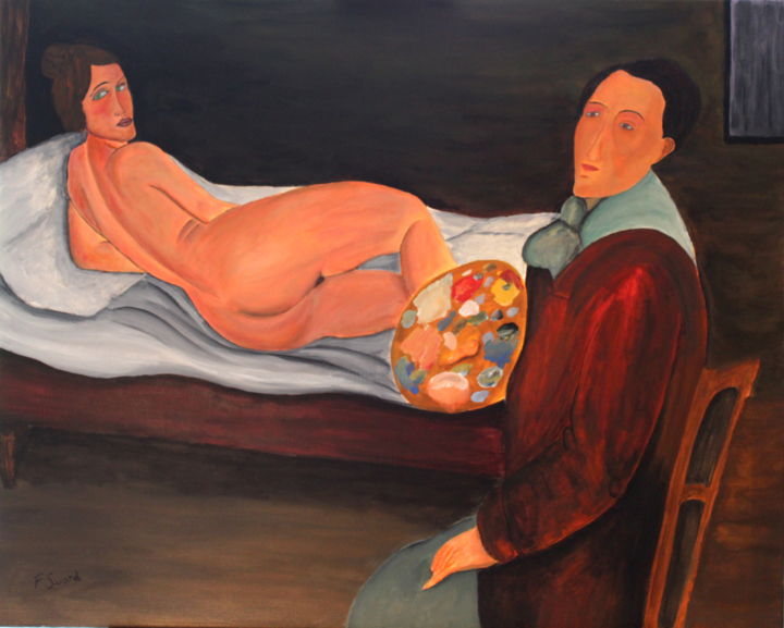 Modigliani et sa muse nue - Painting,  25.6x32.3x0.8 in, ©2020 by Francois Suard -                                                                                                                                                                          Fauvism, fauvism-942, Body
